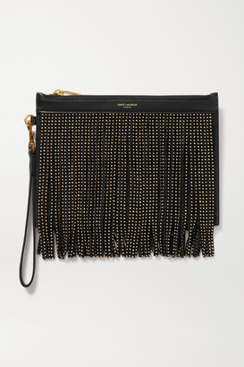Saint Laurent Studded Fringed Leather And Suede Pouch - Black