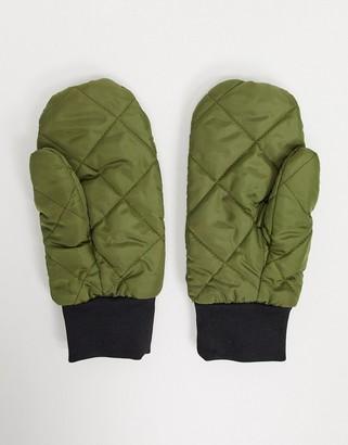 Vero Moda quilted mittens in khaki