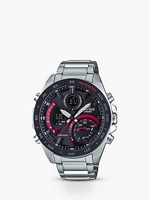 Casio ECB-900DB-1AER Men's Edifice Solar Chronograph Date Bracelet Strap Watch, Silver/Black