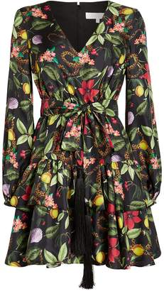 Borgo de Nor Olivia Floral Silk Twill Dress