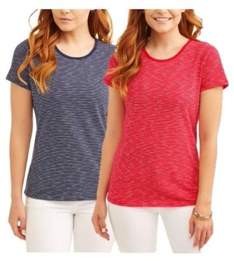 Time and Tru Women's Classic Scoopneck Short Sleeve T-Shirt, 2 Pck Bundle