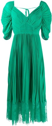 Self-Portrait Pleated Flared Midi Dress