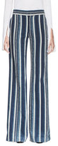 Chloé Striped Silk Wide-Leg Trousers, Navy