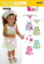 New Look 6578 Size A Toddler Dresses Sewing Pattern, Multi-Colour