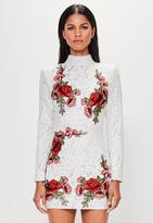 Missguided White Lace Rose High Neck Dress, White