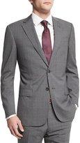Armani Collezioni G-Line Plaid-Windowpane Wool Suit, Gray