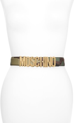 Moschino Camo Print Logo Plate Leather Belt