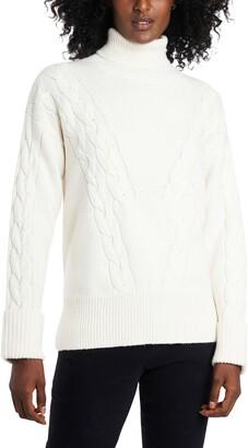 Vince Camuto Cable Detail Cotton Blend Turtleneck Sweater