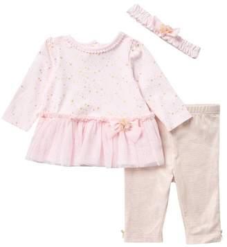 Little Me Star Dress, Leggings, & Headband Set (Baby Girls)