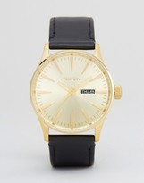 Nixon Sentry Leather Watch In Black