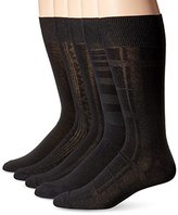 Perry Ellis Men's 5 Pack Premium Cotton Blend Diamond Texture Socks