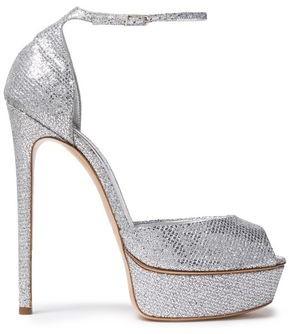Casadei Fata Glittered Woven Platform Sandals