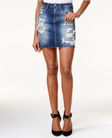GUESS Giselle Ripped Denim Mini Skirt