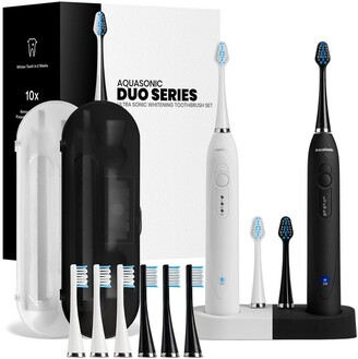 Aquasonic DUO Dual Ultrasonic Toothbrushes with 10 DuPont Brush Heads & 2 Travel Cases