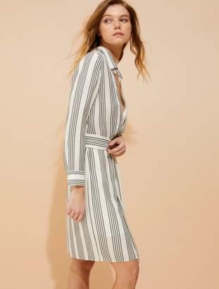 Halston Stripe gauze faux wrap shirtdress