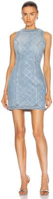 Balmain Short Sleeveless Strass Grid Denim Dress in Bleu Jean & Cristal | FWRD