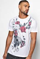 Boohoo Skull And Flower Sublimation T Shirt white