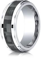 Ice Cobalt 9mm Comfort-Fit Drop Beveled Edge Grey Carbon Fiber Design Ring