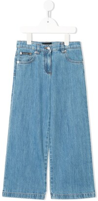 Dolce & Gabbana Kids Five Pocket Design Denim Trousers