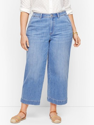 Talbots Plus Size - Wide Leg Crop Jeans - Tilden Wash