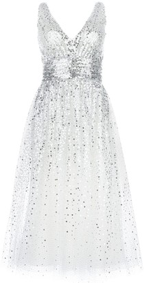 Marchesa sequin embellished flared dress