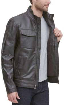 Cole Haan Men's Leather Racer Jacket, Created for Macy's