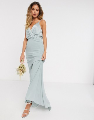 TFNC bridesmaid contrast wrap cami maxi dress in sage