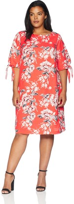 Adrianna Papell Women's Size Plus Lovely Lady Elbow Sleeve Shift Dress