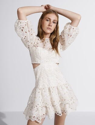 Maje Eyelet mini dress with cut-outs