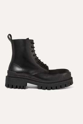 Balenciaga Strike Leather Ankle Boots - Black