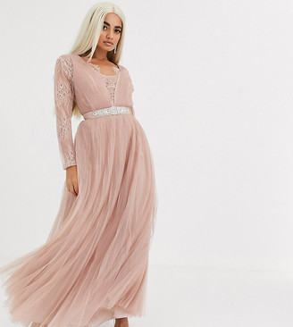 ASOS DESIGN Petite lace sleeve plunge tulle maxi dress with embellished waist trim detail