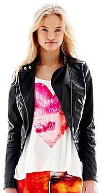 Nanette Lepore L AMOUR BY L'Amour Zip-Front Faux Leather Moto Jacket