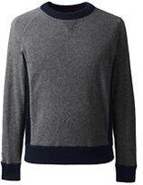 Lands' End Men's Cashmere Colorblock Crewneck Sweater-White
