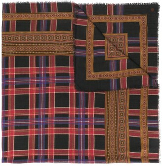 Yves Saint Laurent Pre-Owned Plaid Frayed Scarf