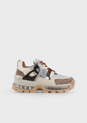 Emporio Armani Chunky Sneakers With Suede And Ripstop Details
