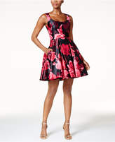 Betsy & Adam Rose-Print Fit & Flare Party Dress