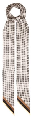 Fendi Checked Logo-print Silk Scarf - Black