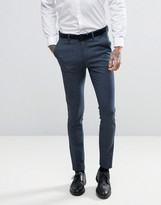 Asos WEDDING Super Skinny Suit Pants in Navy Dogstooth