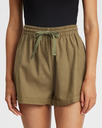 Tussah - Women's Green High-Waisted - Marielle Shorts - Size 6 at The Iconic
