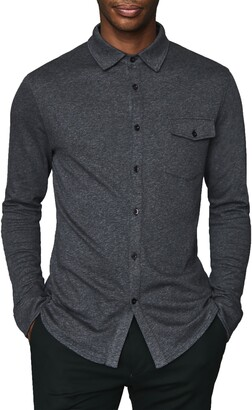 Reiss Lewis Regular Fit Long Sleeve Jersey Button-Up Shirt