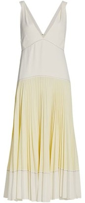 Proenza Schouler White Label Colorblocked Pleated Crepe Dress