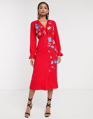 ASOS DESIGN embroidered button front midi tea dress with fluted sleeve in red