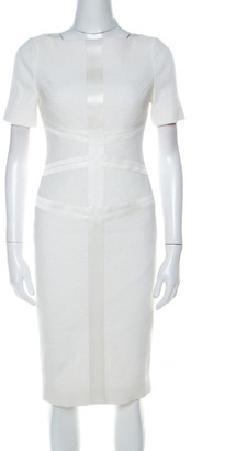 Jason Wu Off White Textured Cotton Blend Short Sleeve Sheath Dress S