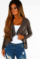 Pink Boutique Yasmina Charcoal Faux Suede Waterfall Jacket