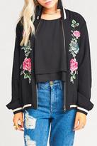 Show Me Your Mumu Black Floral Bomber Jacket