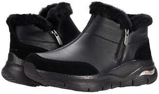 Skechers Arch Fit Lasso - Zipper Bootie (Black/Black) Women's Boots