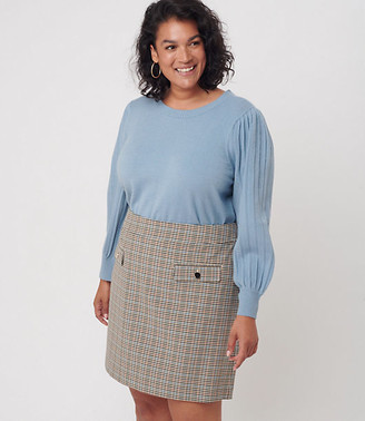 LOFT Plus Checked Pocket Shift Skirt