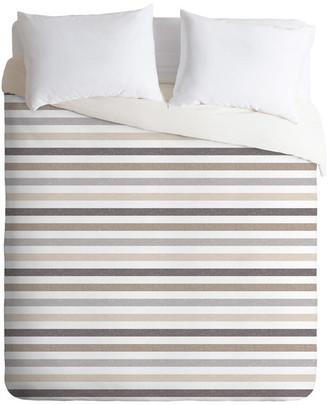 Deny Designs Little Arrow Design Co Mod Neutral Stripes Duvet Cover Set, Twin XL