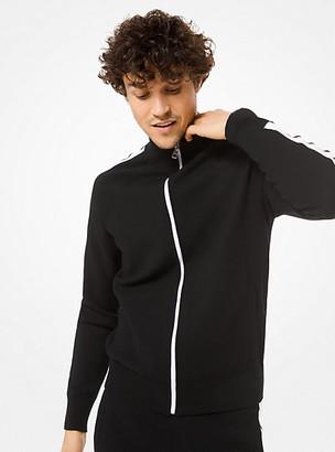 Michael Kors Contrast Stripe Cotton-Blend Track Jacket - Black