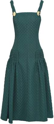 Emilia Wickstead Pleated Jacquard Midi Dress